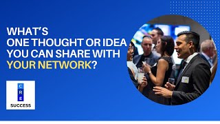 What's one thought or idea you can share with your network, based on your own experience?
