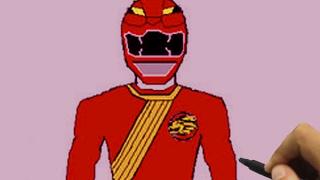Hướng dẫn vẽ siêu nhân Gao đỏ/ How to Draw Gao Superman