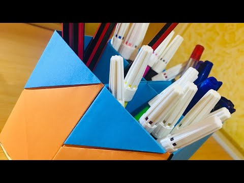 DIY Paper Pen Holder | STATIONARY ITEM | with paper | SCHOOL ITEM | ORIGAMI |