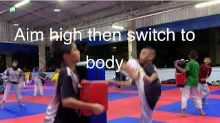 (Taekwondo)tempted with a high kick then switch to body #taekwondo#training