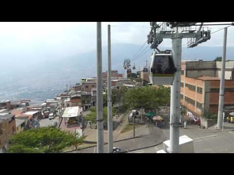 Metro system cable cars at Santo Domingo station, Medellin