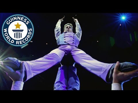 Big Apple Circus gymnasts attempt dizzying backflip challenge – Guinness World Records Day