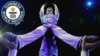Big Apple Circus gymnasts attempt dizzying backflip challenge - Guinness World Records Day