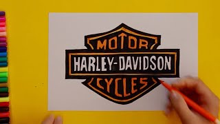 How to draw Harley Davidson Logo