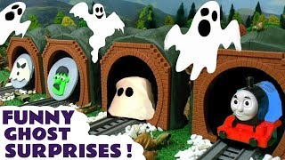 Thomas and Friends Toy Trains funny ghost surprises with Play Doh and Surprise Eggs fun stories TT4U