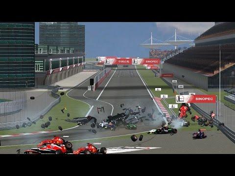 rfactor f1 2014 start crash-Shanghai