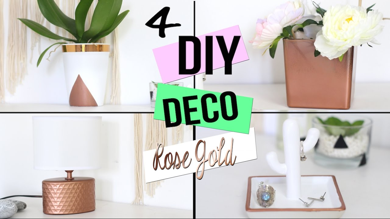 Diy deco cuivre rose gold pour chambre salon bureau copper room decor francais youtube - Deco chambre rose gold ...