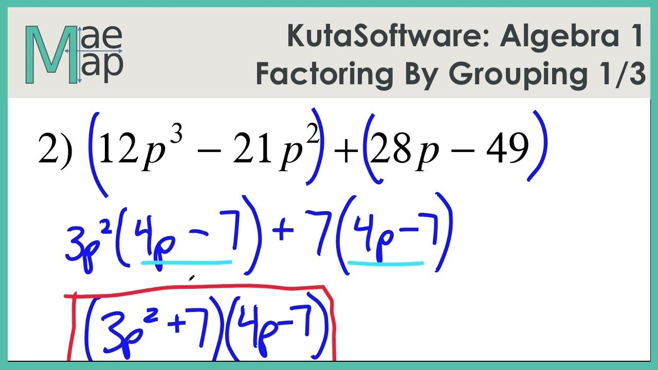 KutaSoftware: Algebra 1- Factoring By Grouping Part 1