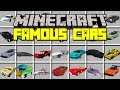 Minecraft FAMOUS CARS MOD! | DRIVE FAMOUS CARS FROM MOVIES & TV SHOWS! | Modded Mini-Game