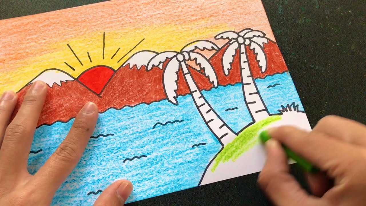 vẽ tranh phong cảnh biển ĐƠN GIẢN | how to draw sea scenery