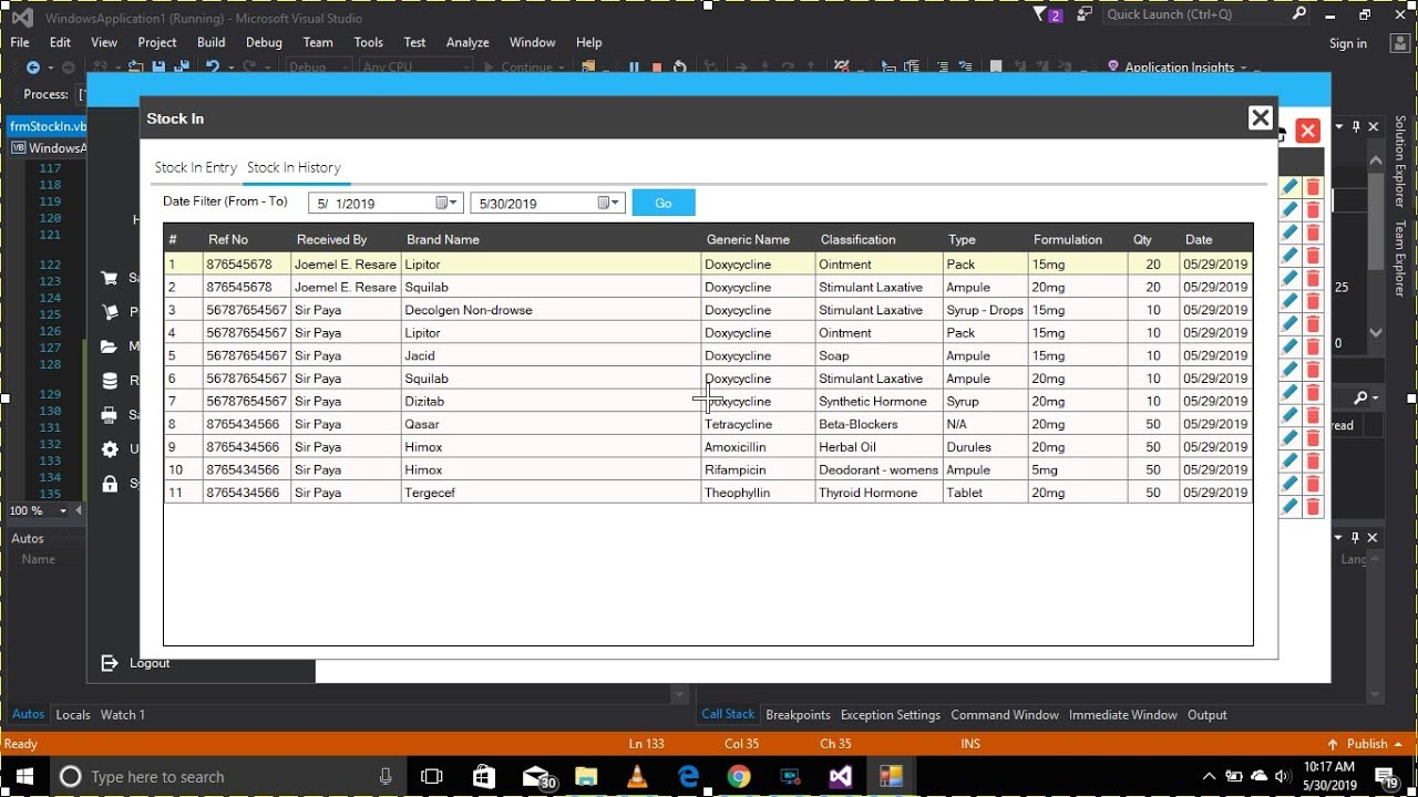 Part 17: Sales And Inventory System For Pharmacy: Stock In History VB Net +  MySql