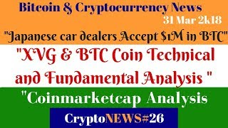 Daily Crypto News #26, XVG & BTC Coin Technical & Fundamental Analysis,Car dealers Accept $1M in BTC