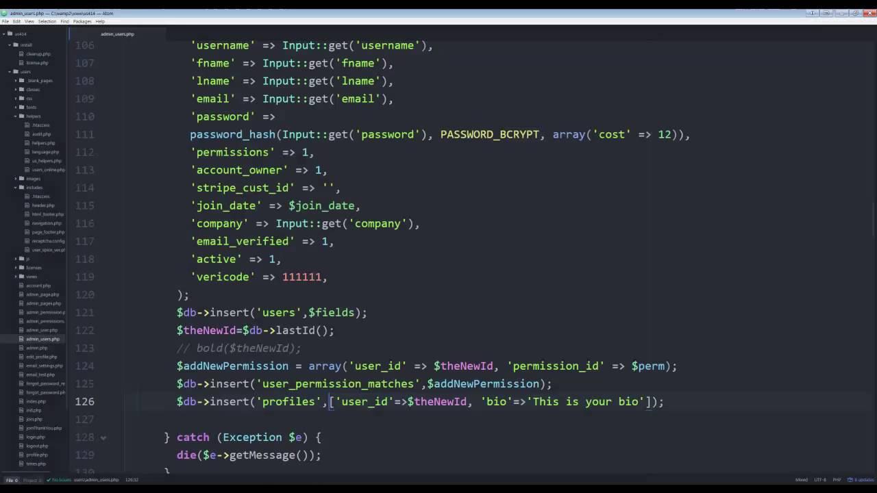 User framework php login Custom User