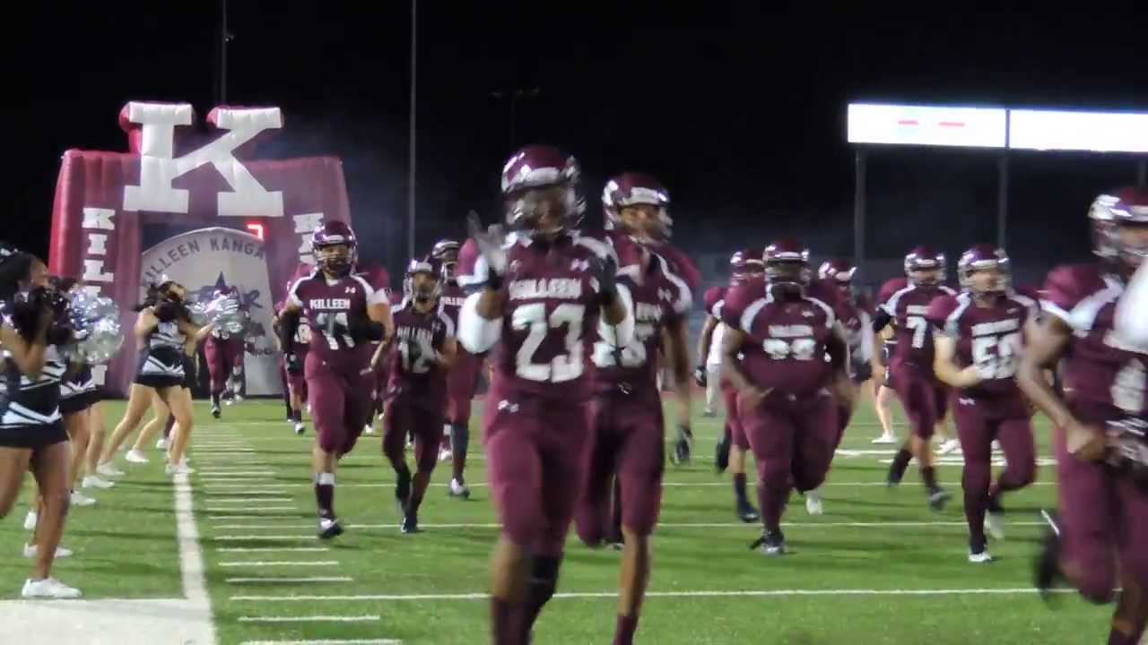 KIlleen High School football players coming out of the tunnel for Ellison  game 11-1-2013