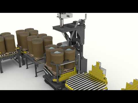 Bulk Container Filler System for Packaging of Dry Bulk Materials into Drums and Bulk Bags.