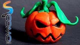 Calabaza de plastilina para Halloween - Manualidades de plastilina