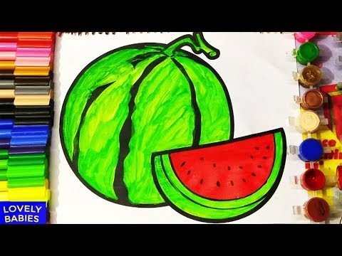 How to Draw Watermelon Coloring Pages Fruit   Kids Learn Drawing   Art Colors for Children