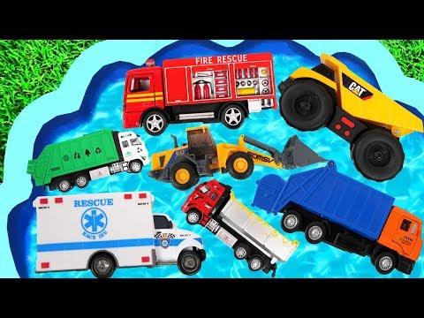 Aprende el Nombre de la Camión Construcción para niños & Excavadora, Camión de basura, Tractor