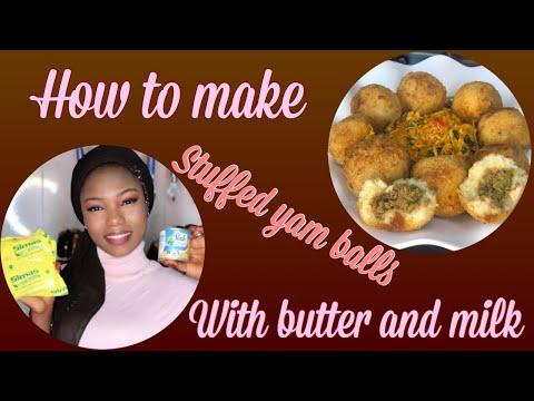 How to make yummy stuffed Ghana 🇬🇭 yam balls 😋😍