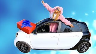 Funny Bunny Driving Car and Magic Surprise Box | Playing with Balloons