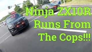 RUNNING FROM THE POLICE ON A NINJA ZX10R!!!