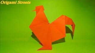 Оригами ПЕТУХ ИЗ БУМАГИ.