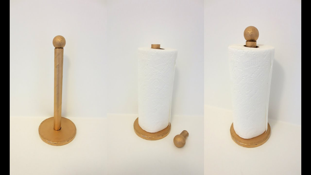 DIY : How To Make Paper Towel Holder Using Recycled Cardboard - YouTube