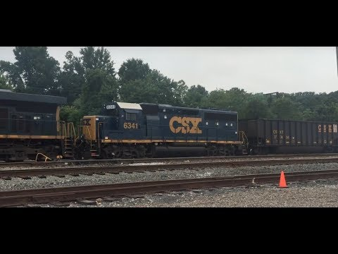 CSX freight departing yard with GP40-2 in South Charleston, WV