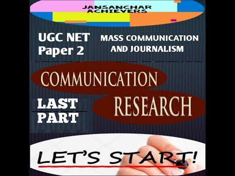 MASS COMMUNICATION RESEARCH FINAL PART  UNIT 10 / UGC NET / MASS COMMUNICATION