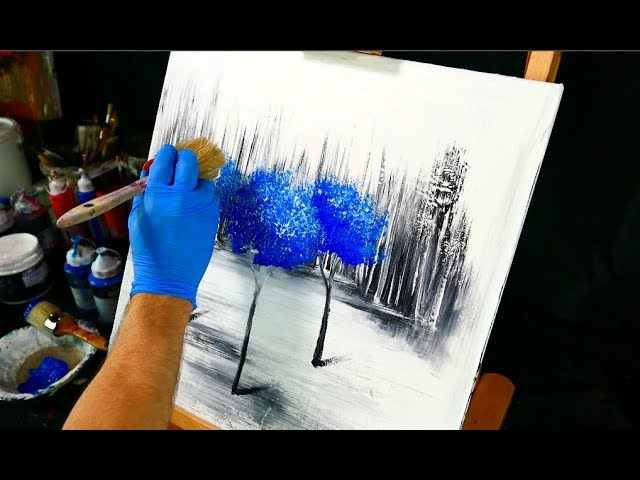 painting trees with a fan brush step by step acrylic - 480×360