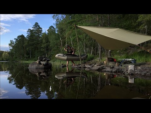 Packrafting - Wilderness Painting - Solo Bushcraft - Wild Camping Trip - Tenkara - Canvas Tarp
