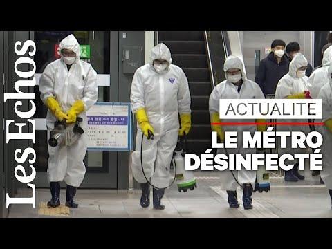 Face au coronavirus, le métro de Séoul est « désinfecté »