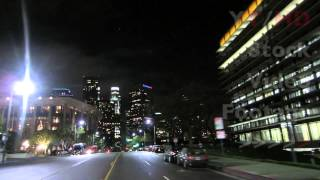 Downtown LA Night Driving Towards Los Angeles Skyscraper Office Buildings  | HD Stock Video Footage