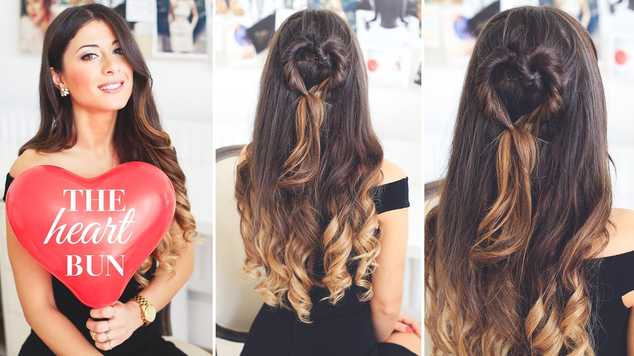 The Heart Bun Valentine S Day Hairstyle Youtube