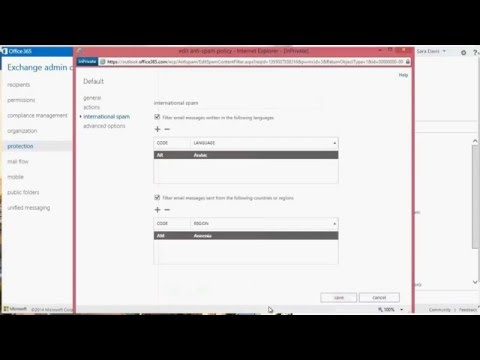Office 365 - Exchange Online configuring Spam & Content filtering
