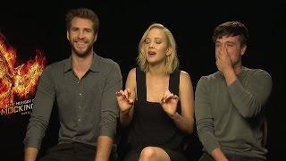 Jennifer Lawrence , Liam Hemsworth & Josh Hutcherson on going to the toilet, sex swings & squirrels