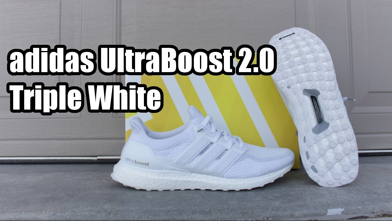 1a5d8475a adidas Ultra Boost 2.0 Triple White W  Comparison   On Foot - YouTube