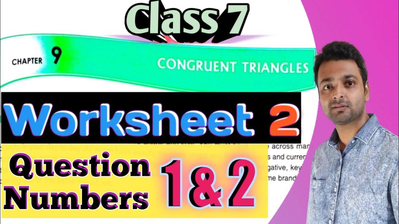 D.A.V. Math   Class 7   Chapter 9   Congruent Triangles   Worksheet 2   Qn.  1\u00262   Art Of Mathematica - YouTube [ 720 x 1280 Pixel ]