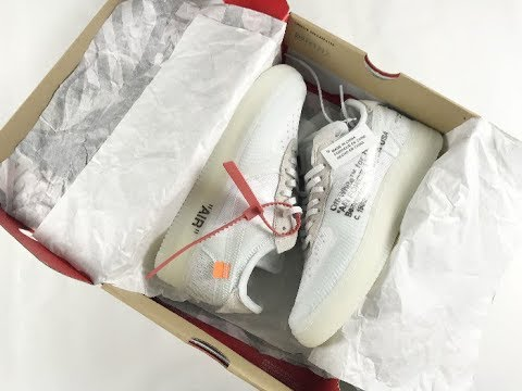 UA Off White x Air Force 1 sneakers  unboxing review - YouTube 413a80bf1