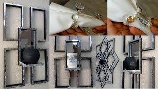 Dollar Tree DIY Glam Mirror Wall Sconces|Dollar Tree DIY Diamonds & Pearls Napkin Rings