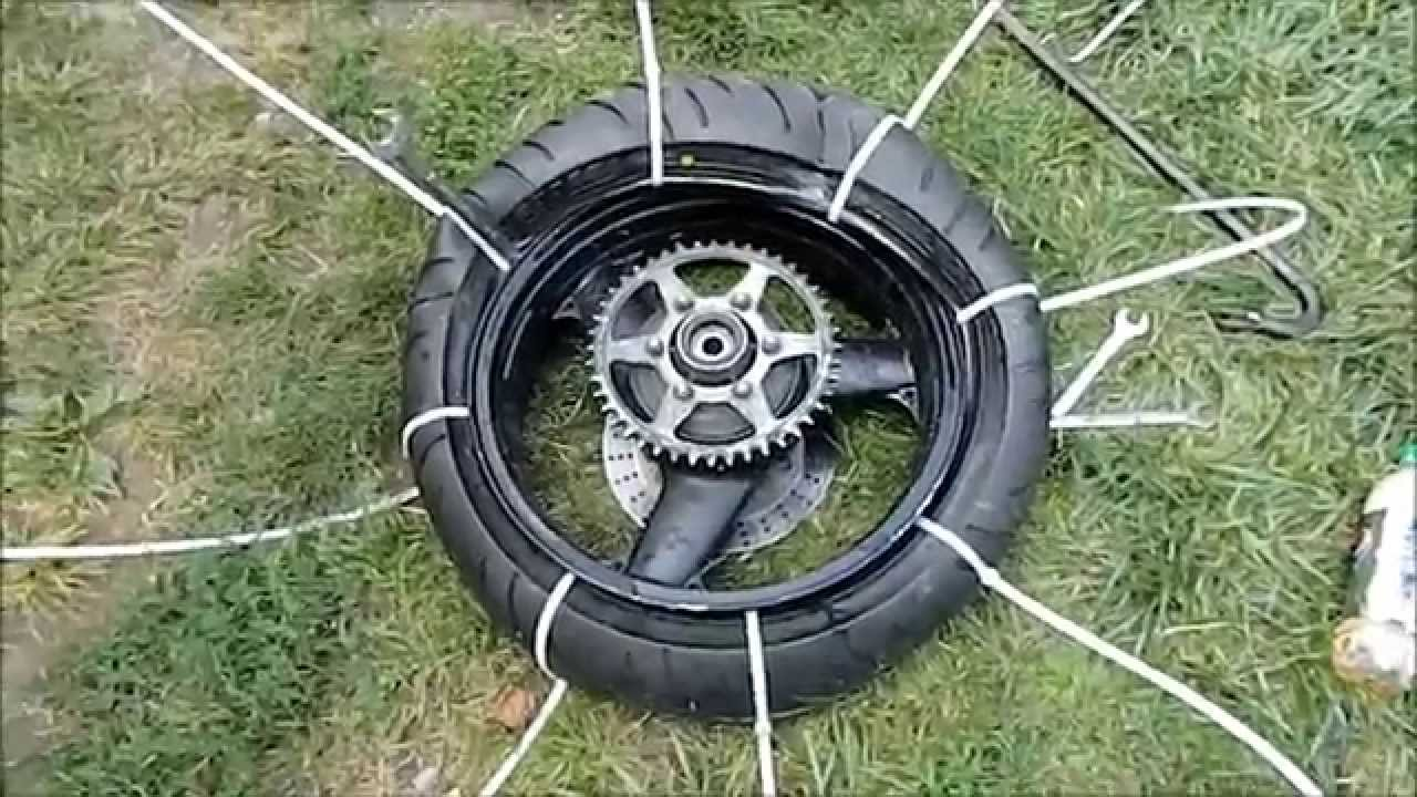 How To Mount a Motorcycle Tire Using Zip Ties - YouTube