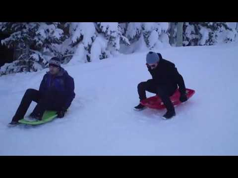 Jeff and Dov Tiefenbach sled on a ski slope