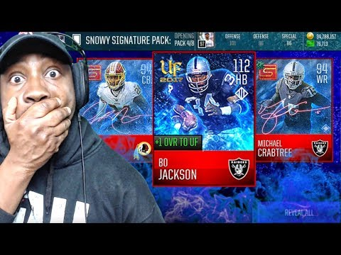 112 OVR BO JACKSON & SNOWY SIGNATURE PACK OPENING! Madden Mobile 18 Gameplay Ep. 22