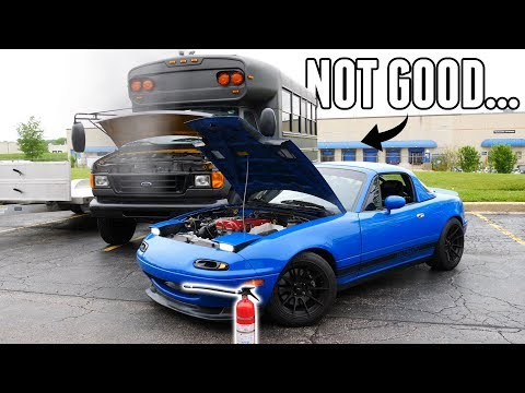 Track Day Ends in Disaster...Turbo Miata & Adventure Bus CATCH FIRE (They're okay...mostly)