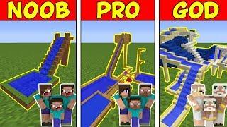 Minecraft Family NOOB vs Pro vs GOD: WATER SLIDE BATTLE in Minecraft!