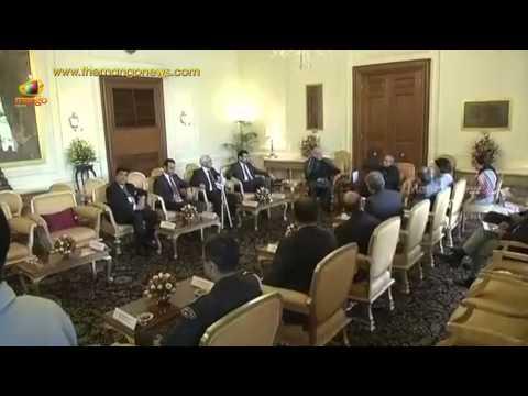 President Pranab Mukherjee meets SAARC leaders - Nawaz Sharif, Rajapaksa