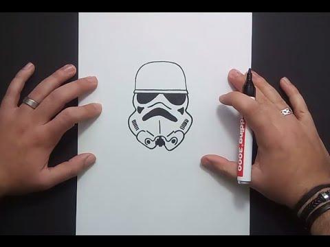 Como dibujar un casco de soldado imperial paso a paso - Star Wars ...