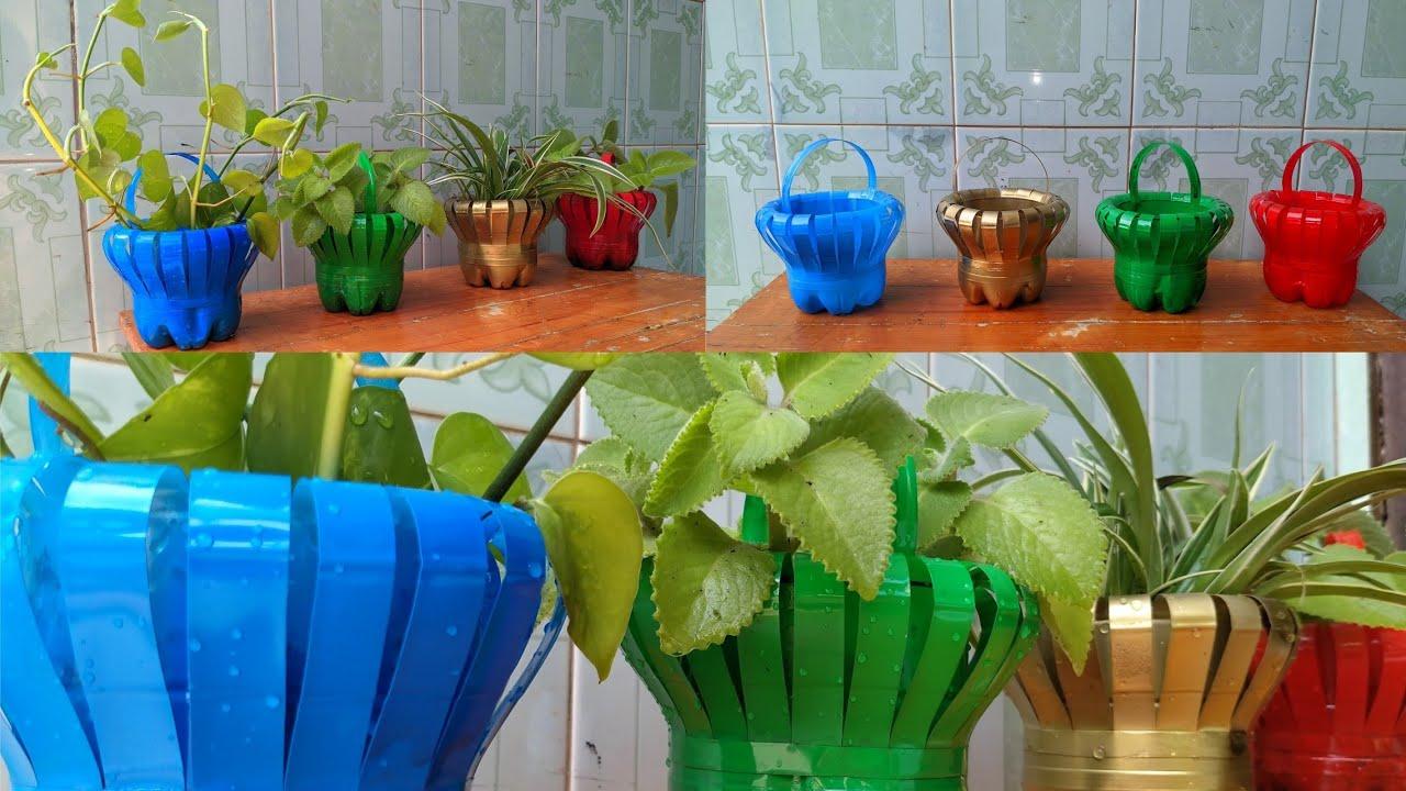 Diy Cara Membuat Pot Tanaman Bentuk Keranjang Cantik Dari Botol Bekas Youtube Pot tanaman dari botol bekas