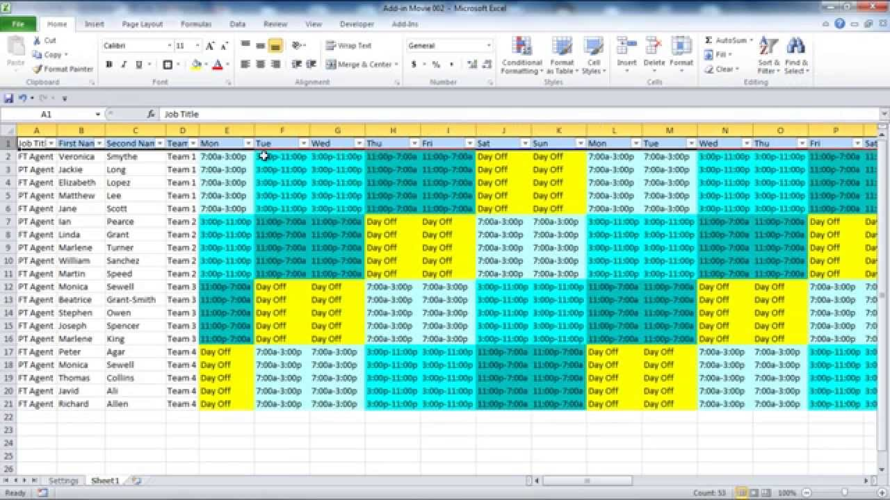 Creating your Employee Schedule in Excel YouTube – Construction Work Schedule Templates Free