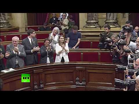 RAW: Moment Catalan parliament declares independence from Spain, crowds cheering